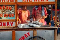 Stalla di via indonesiana della minestra della polpetta, Bali Fotografia Stock