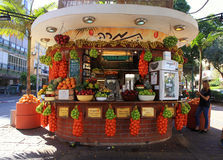 Stalla fresca del succo sulla via di Dizengoff, Tel Aviv, Israele Fotografie Stock Libere da Diritti