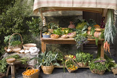 Stalla medioevale del mercato che vende frutta Immagine Stock