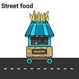 Stalle avec des fritures La nourriture de rue Photographie stock libre de droits