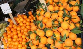 Stalle de marchand de légumes avec les mandarines et l'orange de clémentines avec Images libres de droits