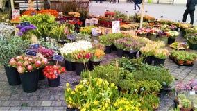 Stalle européenne de fleur à Copenhague sur la rue de marche photographie stock
