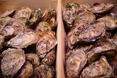 Stalle traditionnelle de poissonnerie complètement des huîtres fraîches de coquille Photos stock