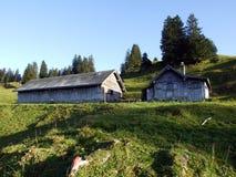 Stallen en landbouwbedrijven op het plateau onder de bergketens Churfirsten stock foto's