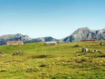 Stallen en landbouwbedrijven op het plateau onder de bergketens Churfirsten stock afbeeldingen