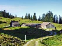 Stallen en landbouwbedrijven op het plateau onder de bergketens Churfirsten royalty-vrije stock foto