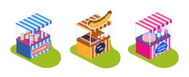 Stalles, étalages avec la nourriture de rue, boissons et bonbons illustration stock