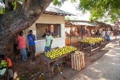 Stalles de fruit de bord de la route vendant des mangues image stock