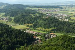 Stallikon, Sellenbüren, Bonstetten village near Zurich, Switzer. Land, top view from Royalty Free Stock Image