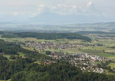 Stallikon, Sellenbüren, Bonstetten village near Zurich, Switzer. Land, top view from Stock Images
