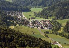 Stallikon village near Zurich, Switzerland, top view from Uetlib. Erg Royalty Free Stock Photos