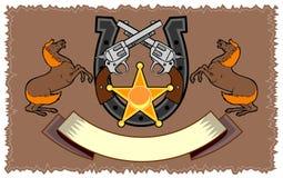 Stallion, colt 45 horseshoe. Stallion, colt 45 with horseshoe emblem vector illustration