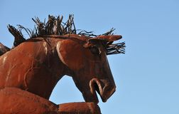 Stallion Horse Metal Sculpture at Anza Borrego Desert California. Stallion horse metal sculptures in the Anza Borrego Desert. Sculptures are public art displayed stock photos