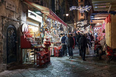 Stalls Christmas in Naples royalty free stock photography