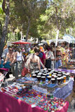 Stalls at Crowd scene at Punta Arabi Hippie Market. Stalls and crowd of people at Punta Arabi Hippie Market on Ibiza Royalty Free Stock Photo
