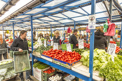 Stalls at the market Stary Kleparz in Krakow Royalty Free Stock Images