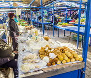 Stalls at the market Stary Kleparz in Krakow Royalty Free Stock Image