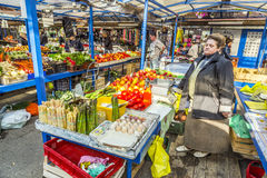Stalls at the market Stary Kleparz in Krakow Stock Photography