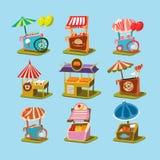 Stalls med mat utformar in ett isometriskt Royaltyfri Foto