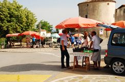 Stalls Outside Smartno. Smartno, Slovenia - June 13th 2015. Passersby and locals stop at food stalls outside the historic town of Smartno in the Goriska Brda Stock Photos