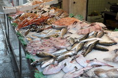 Stalls on the Rialto fish market Royalty Free Stock Image