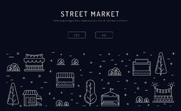 Stalls and selling goods at street food seasonal market. Advertising banner with shops, stalls and selling goods at street food seasonal market. Backdrop with stock illustration
