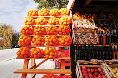 Stalls selling oranges. Neretva valley, CROATIA - NOVEMBER 3, 2014 : Stalls selling oranges mandarins and olive oil lined the road in Neretva valley royalty free stock image