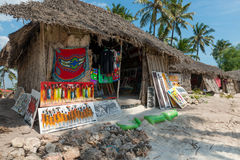 Stalls with souvenirs for tourists in Zanzibar village Stock Photo