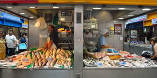 Stalls and traders at the Fish Market Malaga. Royalty Free Stock Photography