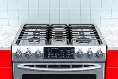 Stalowa benzynowa kuchenka w kuchennym wnętrzu 3d Zdjęcie Stock