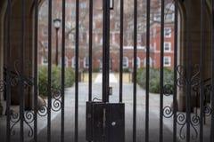 Stalowa brama w klasycznego podwórze obraz royalty free