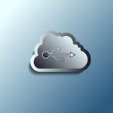 Stalowa 3d wektoru chmura Przechowywanie danych ilustracja wektor