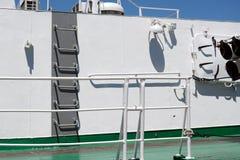 Stalowa drabina na marynarka wojenna pancerniku zdjęcie stock