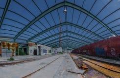 Stalowa struktura na dachu fabryczna panorama obrazy stock