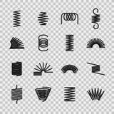Stalowa wiosna Ślimakowatej zwitki drucianych wiosen elastyczny stalowy kształt Absorbujące ciśnieniowe wyposażenie linii wektoru ilustracji