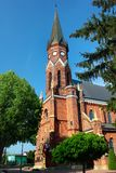 Roman Catholic church in Stalowa Wola, Poland. Stalowa Wola, Poland - April 29, 2018: Roman Catholic church of Our Lady of the Scapular in the Rozwadow suburb of royalty free stock photography