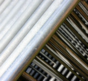 Stalowe Bariery i metali materiał budowlany Zdjęcie Stock