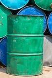 Stalowego zbiornika lub nafcianego paliwa toksyczna substancja chemiczna beczkuje Obraz Stock