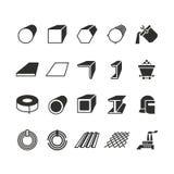 Stalowej drymby i rolka metalu produktu wektoru stalowe ikony Fotografia Royalty Free
