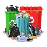 Stalowy śmieciarski kosz pełno grat ilustracji