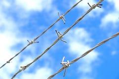 Stalowy anty wejścia ogrodzenie z ostrymi kolcami Fotografia Stock