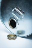 Stalowy bęben dla niebezpiecznych substancj chemicznych Obrazy Royalty Free