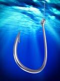 Stalowy fishhook podwodny Fotografia Royalty Free