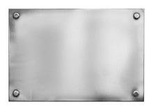 Stalowy metalu talerz, signboard z nitami lub Obraz Royalty Free