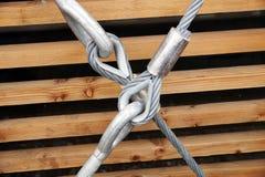 Stalowy turnbuckle mienia haczyka oko z uczepienia i metalu kablami Obrazy Royalty Free