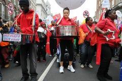 Stalowy Zespół przy cięć Protestem w Londyn Fotografia Stock