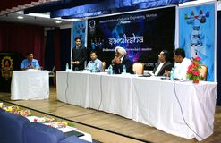 Stalwarts of Indian corporate in panel discussion. Stalwarts and experts from diverse fields in Indian corporate engaged in a panel discussion event , called as Royalty Free Stock Image