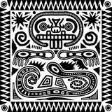 stam- aztec tegelplatta royaltyfri illustrationer