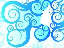 stam- blått flödande hår Fotografering för Bildbyråer