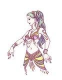 Stam- dansare eller magdansös Girl i hand dragen stil vatten för vektor för ny illustration för design ditt naturligt royaltyfri illustrationer